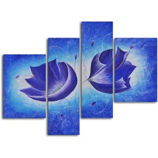'Violet floral fantasy' 4-piece Hand Painted Oil Painting