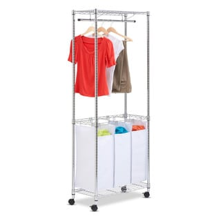 Honey-Can-Do HCD-SRT-01154 Chrome Rolling Urban Laundry Center