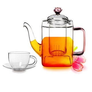Tea Beyond Hand Crafted Glass 17-ounce Romeo Teapot and 2 Tea Cups with Saucers Set
