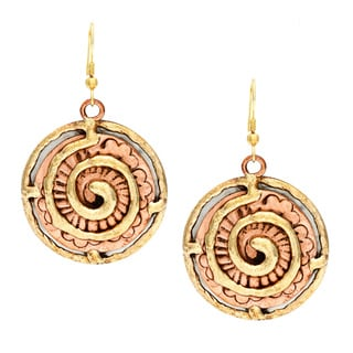 Handmade Abstract Swirl Stainless Steel Earrings (India)