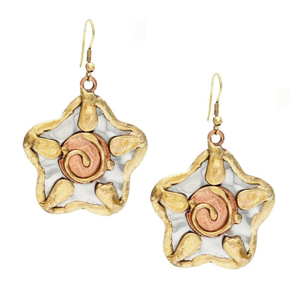 Handmade Stainless Steel Three-tone Sun Design Earrings (India)