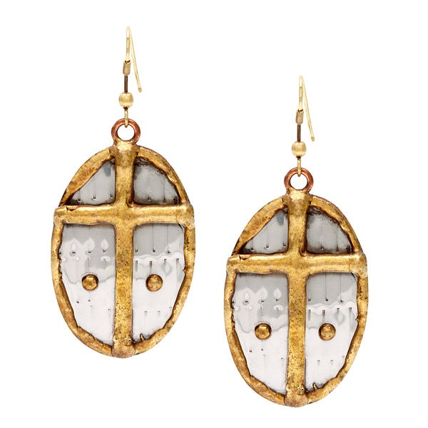 Handmade Oval Brass Cross Stainless Steel Earrings (India)