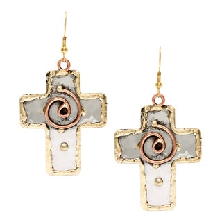 Handmade Copper Swirl Stainless Steel Cross Earrings (India)