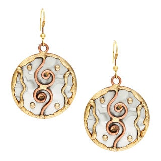 Handmade Copper Swirls Stainless Steel Earrings (India)