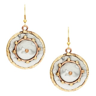 Handmade Copper Circle and Brass Dots Stainless Steel Earrings (India)
