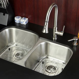 Undermount Stainless Steel 32 Inch Double Bowl Kitchen Sink And Faucet Combo