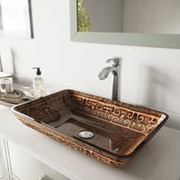 VIGO Golden Greek Glass Vessel Bathroom Sink Set with Otis Faucet