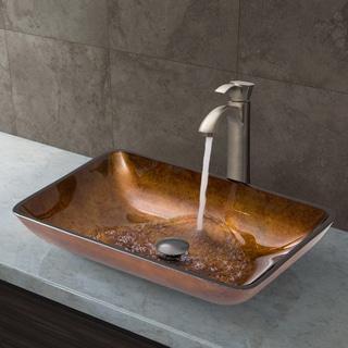 VIGO Rectangular Russet Glass Vessel Sink and Otis Faucet Set in Brushed Nickel