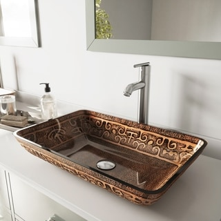 VIGO Golden Greek Glass Vessel Sink and Brushed Nickel Faucet Set