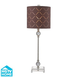 HGTV HOME 1-light Brushed Steel/ Brown Fabric Table Lamp