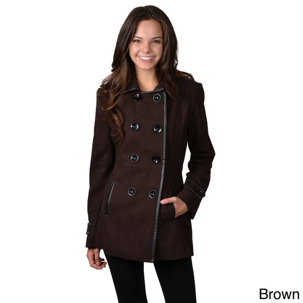 Journee Collection Juniors Double-breasted Wide Collar Coat