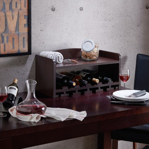Furniture of America Walnut Modern Mounting Wine Rack