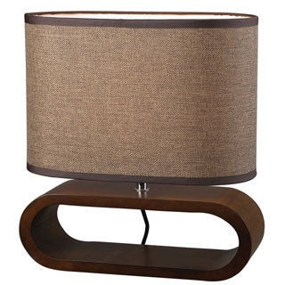 Oval 1-light Natural Stained Finish Table Lamp