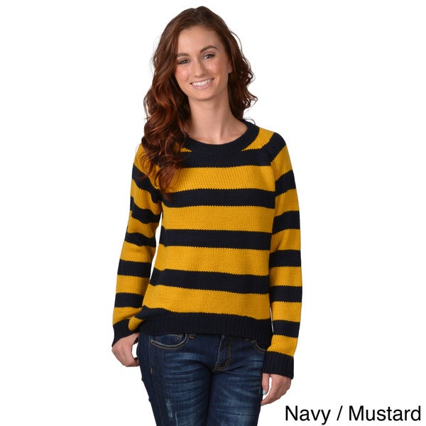 Journee Collection Women's Long Sleeve Hi-lo Striped Sweater