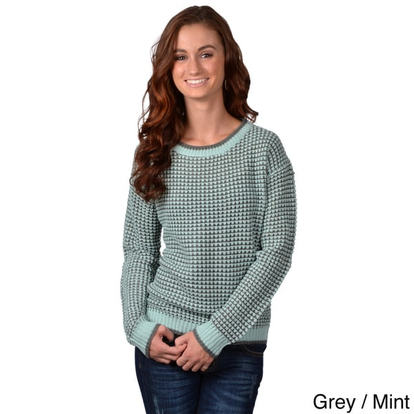 Journee Collection Women's Long Sleeve Two-tone Sweater
