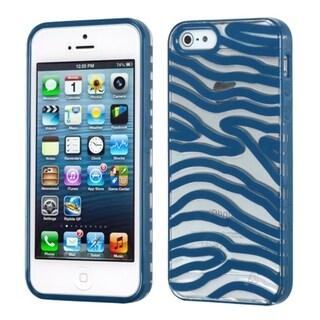 INSTEN Transparent/ Dark Blue Zebra Phone Case Cover for Apple iPhone 5 / 5C / 5S / SE