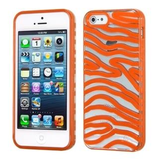 INSTEN Transparent/ Orange Zebra Phone Case Cover for Apple iPhone 5 / 5C / 5S / SE