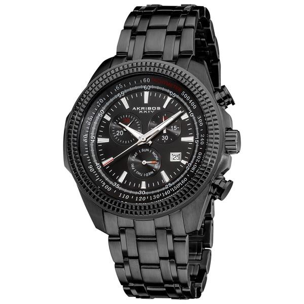 Akribos XXIV Men's Chronograph Tachymeter Black Stainless Steel Bracelet Watch. Opens flyout.