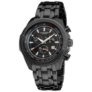 Akribos XXIV Men's Chronograph Tachymeter Black Stainless Steel Bracelet Watch