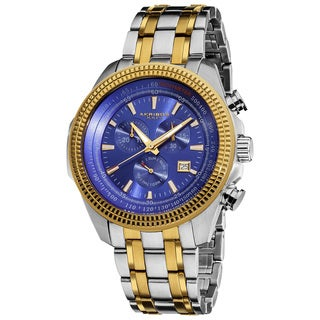 Akribos XXIV Men's Chronograph Tachymeter Stainless Steel Two-Tone Bracelet Watch