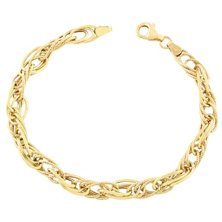 Fremada 10k Yellow Gold Fancy Interlock Twist Bracelet (7.5-inch)