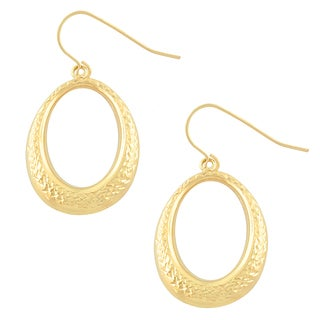Fremada 10k Yellow Gold Diamond-cut Oval Dangle Earrings