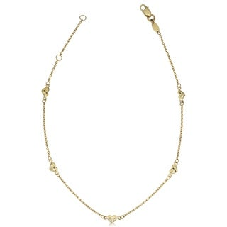 Fremada 10k Yellow Gold Diamond-cut Heart Station Anklet (10-inch)