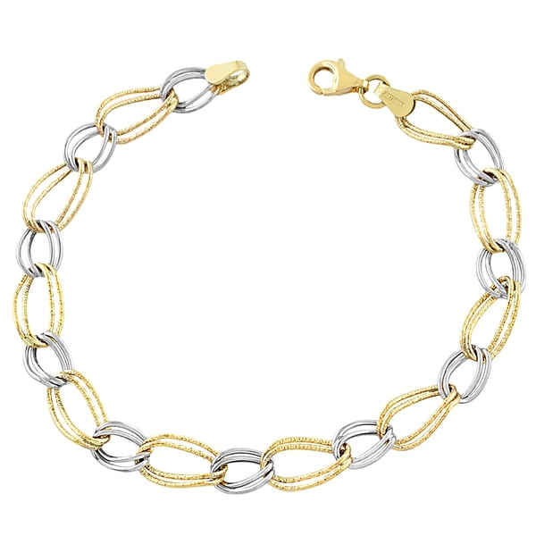 Shop Fremada 10k Two Tone Gold Twist Alternating Oval