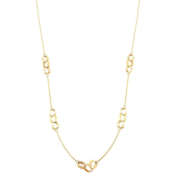 Fremada 10k Yellow Gold Interlock Oval Station Necklace (18-inch)