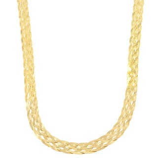 Fremada Italian 18k Yellow Gold over Sterling Silver Braided Herringbone Necklace (18 or 20 inches)