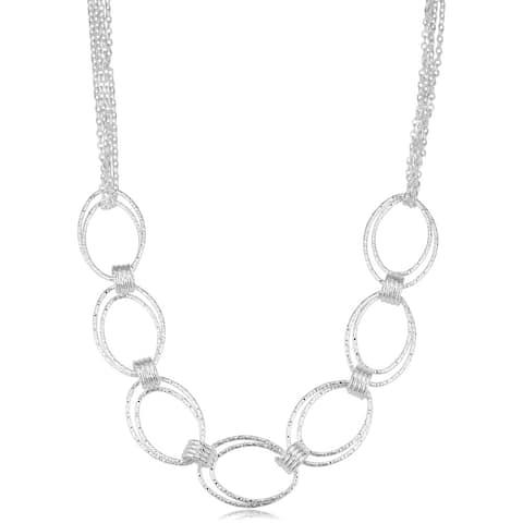 Fremada Sterling Silver Diamond-cut Link 4-strand Adjustable Necklace