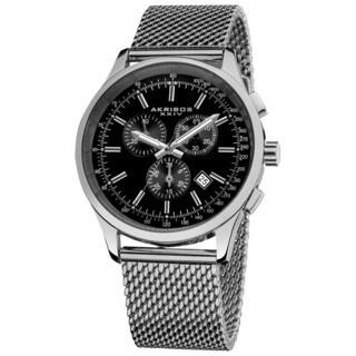 Akribos XXIV Men's Chronograph Tachymeter Stainless Steel Black-dial Silver-Tone Bracelet Watch