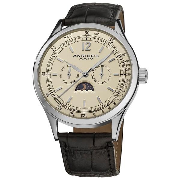 Akribos XXIV Men's Swiss Quartz Moon Phase Leather Silver-Tone Strap Watch with Champagne Dial