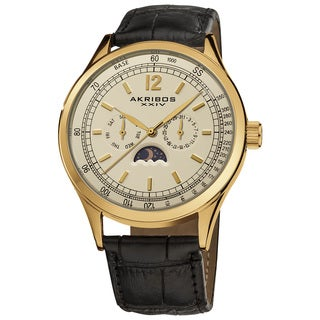 Akribos XXIV Men's Goldtone Swiss Quartz Moon Phase Leather Strap Watch with FREE GIFT