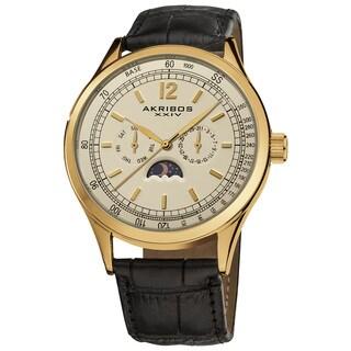 Akribos XXIV Men's Goldtone Swiss Quartz Moon Phase Leather Strap Watch