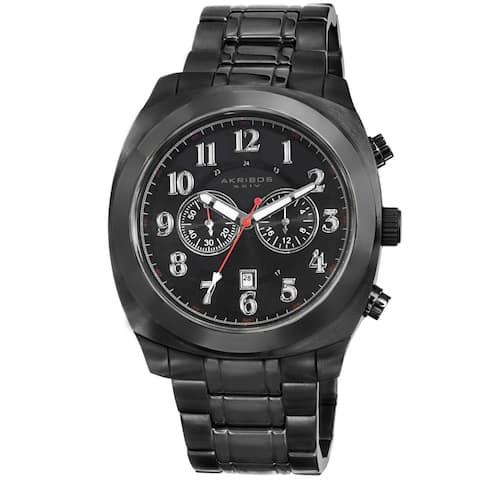 Akribos XXIV Men's Black Chronograph Stainless Steel Bracelet Watch