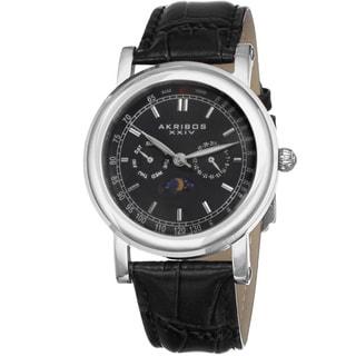 Akribos XXIV Men's Quartz Multifunction Matte Dial Black Leather Silver-Tone Strap Watch