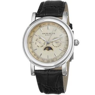 Akribos XXIV Men's Quartz Multifunction Matte Dial Leather Silver-Tone Strap Watch