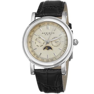 Akribos XXIV Men's Quartz Multifunction Matte Dial Leather Silver-Tone Strap Watch with FREE GIFT|https://ak1.ostkcdn.com/images/products/8499737/Akribos-XXIV-Mens-Japanese-Quartz-Multifunction-Matte-Dial-Genuine-Leather-Strap-Watch-P15785354.jpg?impolicy=medium