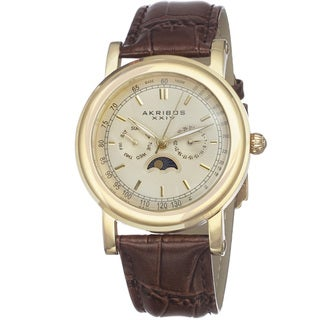 Link to Akribos XXIV Men's Quartz Matte Dial Brown Leather Gold-Tone Strap Watch Similar Items in Men's Watches