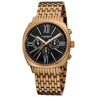 Akribos XXIV Men's Quartz Multifunction Vintage Stainless Steel Water-resistant Rose-Tone Watch