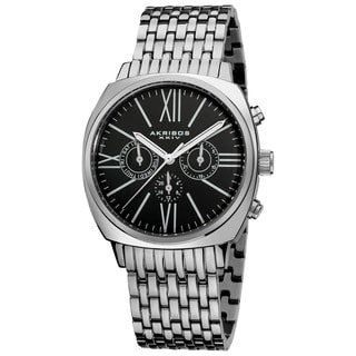 Akribos XXIV Men's Quartz Silvertone Vintage Stainless Steel Watch