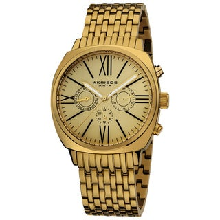 Akribos XXIV Men's Quartz Gold Tone Multifunction Vintage Stainless Steel Watch