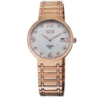 Burgi Ladies Swiss Quartz Stainless Steel Diamond Dial Rose-Tone Bracelet Watch