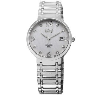 Burgi Ladies Silvertone Swiss Quartz Stainless Steel Diamond-dial Bracelet Watch