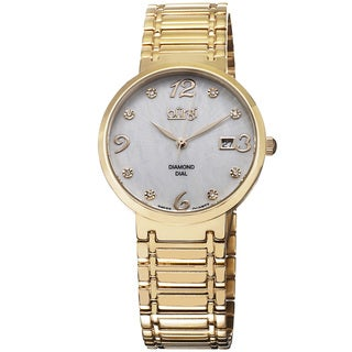 Burgi Ladies Goldtone Swiss Quartz Stainless Steel Diamond-dial Bracelet Watch