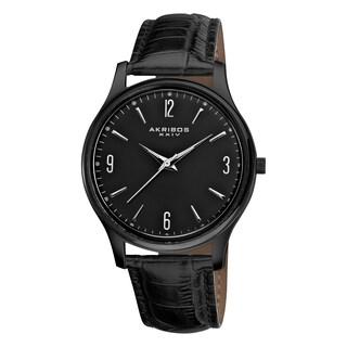 Akribos XXIV Men's Stainless Steel Swiss Quartz Slim Leather Strap Watch