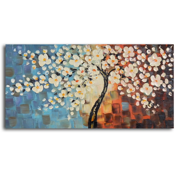 39 textured cherry blossom 39 hand painted oil painting free for Cherry blossom canvas painting