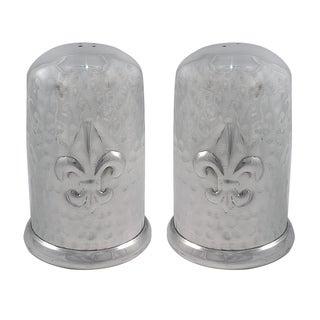 Handmade Aluminum Hammered Fleur de Lis Salt and Pepper Shaker Set (India)