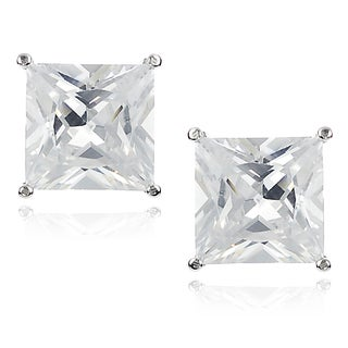 Journee Collection Silver-tone Cubic Zirconia Square Stud Earrings